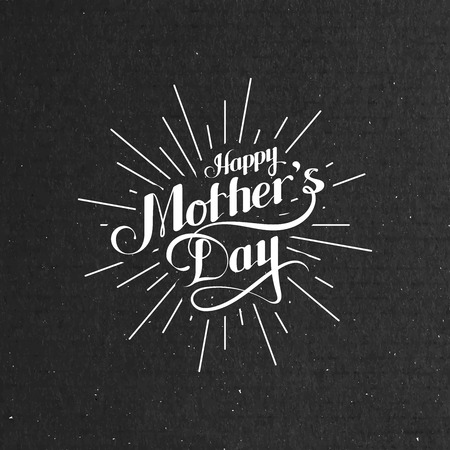 congratulation: vector typographic illustration of handwritten Happy Mothers Day retro label with light rays. lettering composition
