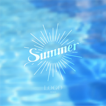 light rays: vector illustration of swimming pool. water background. summer label with light rays. lettering emblem