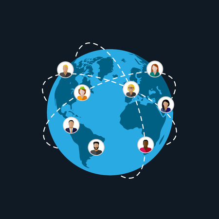 vector flat illustration of society members. population. modern society or global network concept. communication concept 일러스트