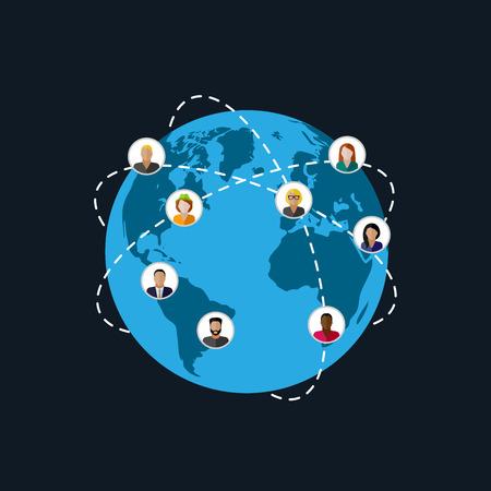 alrededor del mundo: ilustración vectorial plana de los miembros de la sociedad. población. la sociedad moderna o el concepto de red global. concepto de comunicación Vectores