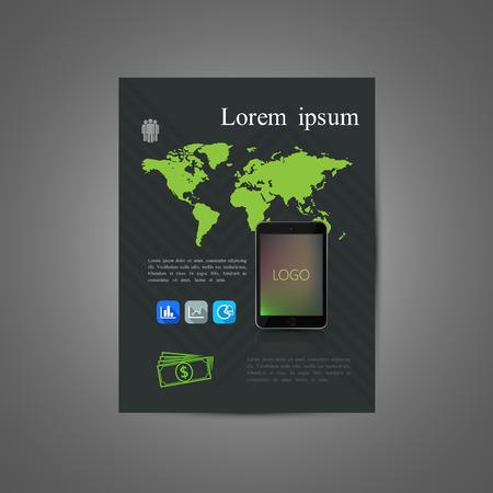 computador tablet: vector illustration of business brochure or flyer template design with world map tablet computer and flat icons. infographics Ilustração