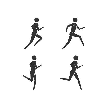 trail running: vector illustration of running or jogging men icons. fitness logo design