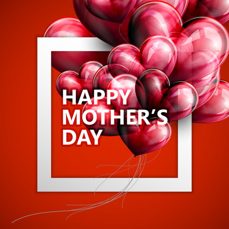 vector typographic illustration of Happy Mothers Day label with white square frame and red flying balloon hearts. postcard design