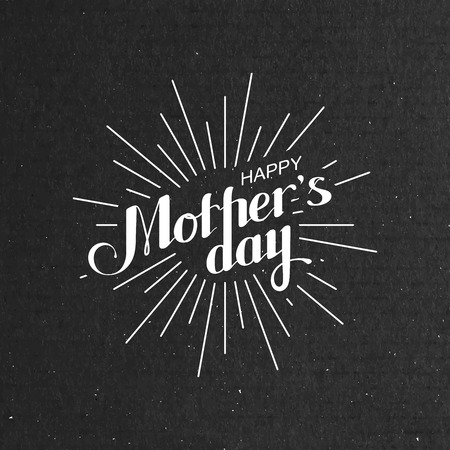 mother day: vector typographic illustration of handwritten Happy Mothers Day retro label with light rays. lettering composition