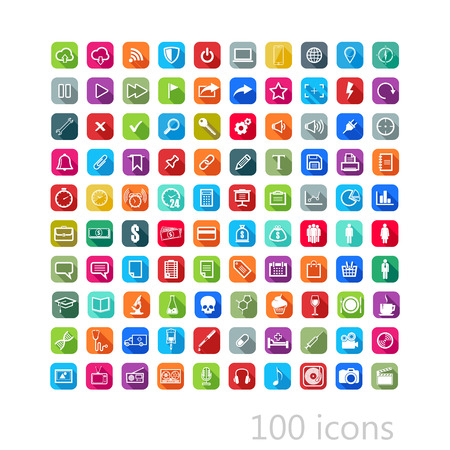 vector set of flat icons with long shadows for web, mobile or print design
