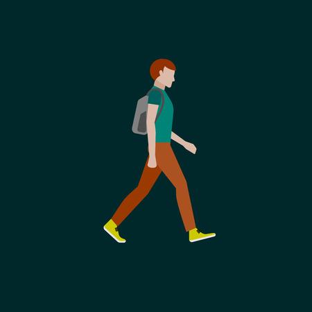 남자 패션 스타일. 플랫 스타일의 그림입니다. 걷는 사람 일러스트