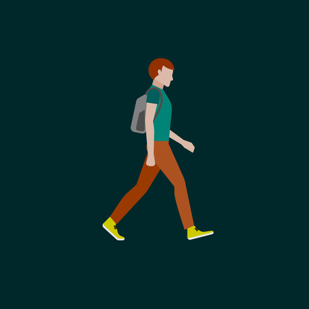 scandinavian people: men fashion style. illustration in flat style. walking guy