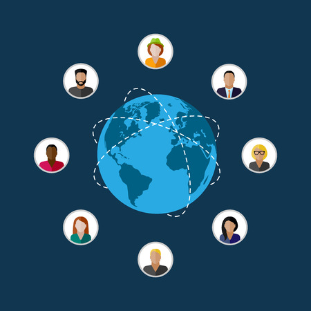 the audience: vector flat illustration of society members. population. modern society or global network concept. communication concept Illustration