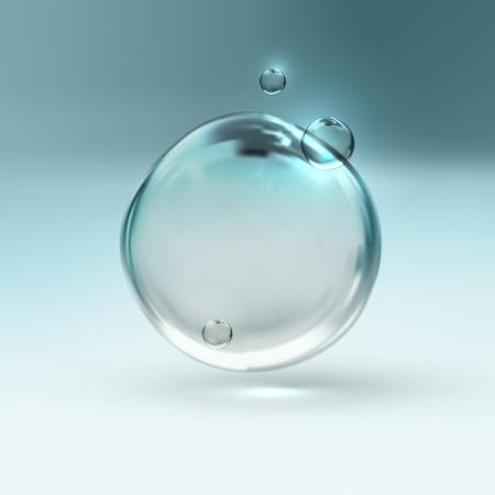 agua: ilustraci�n vectorial de burbujas de agua brillantes frescos transparentes