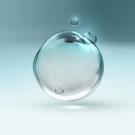 water surface: vector illustration of transparent fresh shiny water bubbles Illustration