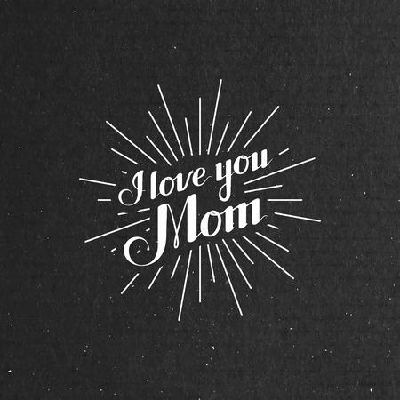 Illustrazione vettoriale tipografica di manoscritta I Llove È mamma retro etichetta con raggi di luce. Composizione scritta Archivio Fotografico - 39761305