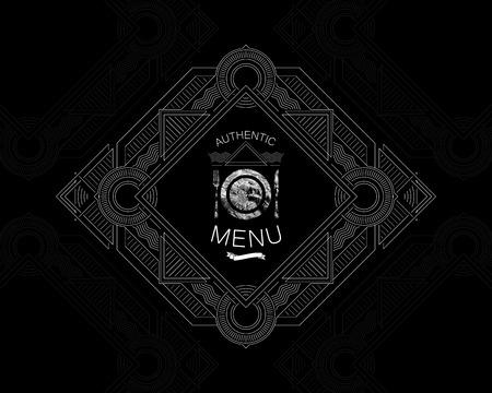 artdeco: ilustraci�n vectorial con adornado etiqueta men� del restaurante. l�nea gr�cil art-deco elemento de dise�o Vectores