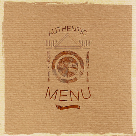 artdeco: vector illustration with ornate restaurant menu label on cardboard texture. graceful line art-deco design element