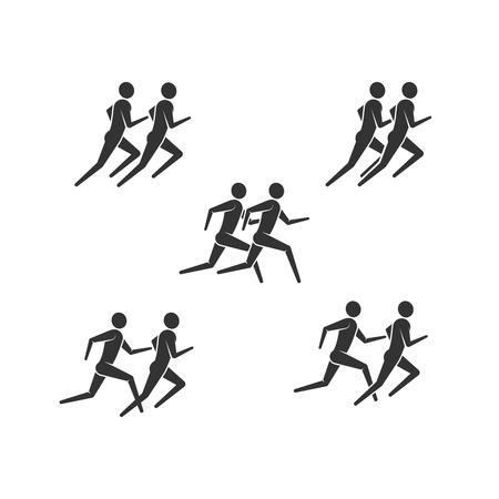vector illustration of running or jogging men icons. fitness  design 向量圖像