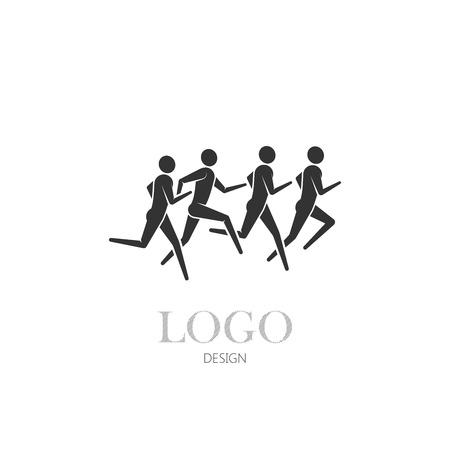 jogging track: vector illustration of running or jogging men icons. fitness or marathon  design