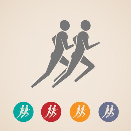personas trotando: ilustración vectorial de correr o trotar hombres iconos. diseño de la aptitud