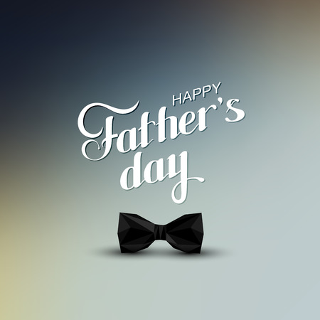 black bow: vector holiday illustration of handwritten Happy Fathers Day retro label with black bow tie in low-polygonal style. lettering composition