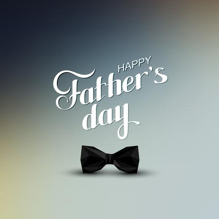 eleganz: Vektor-Urlaub Illustration von handschriftlichen Happy Fathers Day Retro-Etikett mit schwarzer Fliege in Nieder polygonalen Stil. Schriftzug Zusammensetzung