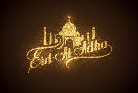 holy  symbol: vacaciones ilustración vectorial de la etiqueta brillante Eid Al Adha manuscrita. composición de las letras del mes sagrado musulmán con la construcción de la mezquita, destellos y brillos