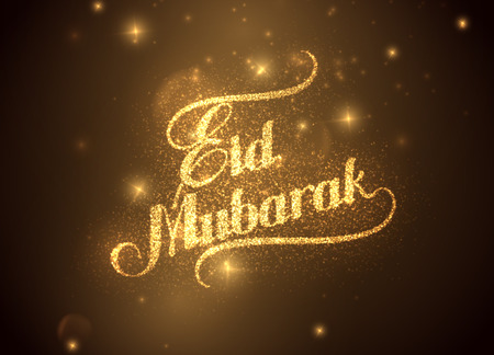 holy: vector holiday illustration of handwritten Eid Mubarak shiny label. lettering composition of muslim holy month with sparkles and glitters Illustration