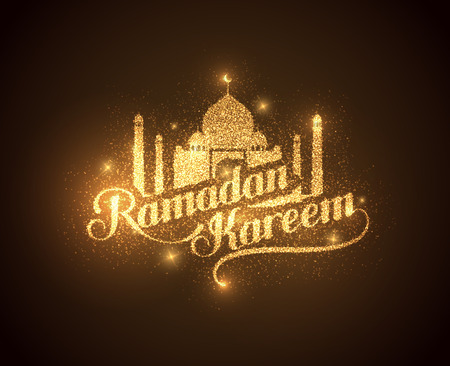 worship: vector holiday illustration of shiny Ramadan Kareem label. lettering composition of muslim holy month with mosque building and sparkles