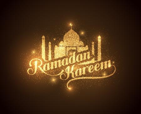 Vektor-Urlaub Abbildung der glänzend Ramadan Kareem Label. Schriftzug Zusammensetzung der muslimischen heiligen Monat mit Moschee Gebäude und funkelt Standard-Bild - 40930326