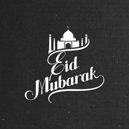 worship: vector typographic illustration of handwritten Eid Mubarak retro label. lettering composition of muslim holy month with mosque building