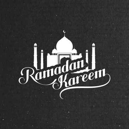 vector typographic illustration of handwritten Ramadan Kareem retro label. lettering composition of muslim holy month with mosque building