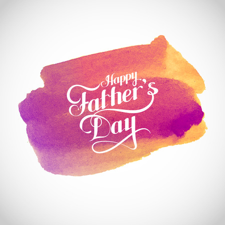 vector typographic illustration of handwritten Happy Fathers Day retro label with light rays on watercolor background. lettering composition. postcard design
