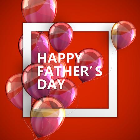padres: ilustraci�n vectorial tipogr�fica de feliz etiqueta de d�a del padre con el blanco marco cuadrado y globos voladores. dise�o de la postal