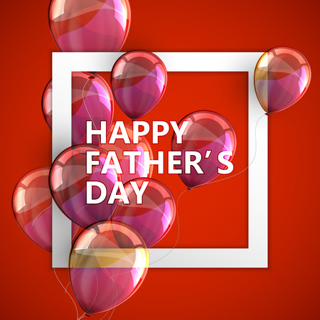 vector typographic illustration of Happy Fathers Day label with white square frame and flying balloons. postcard design