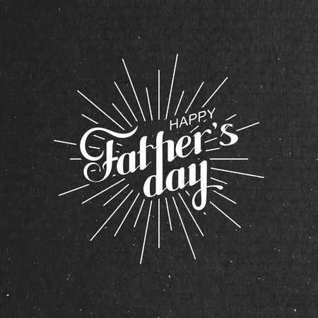father's: vector typographic illustration of handwritten Happy Fathers Day retro label with light rays. lettering composition