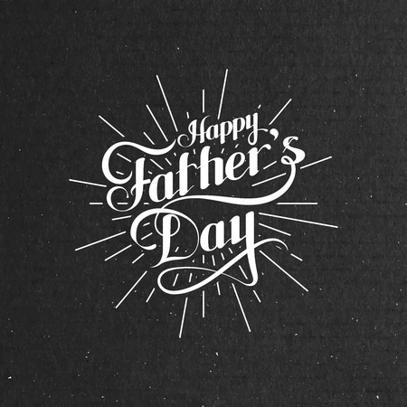 congratulation: vector typographic illustration of handwritten Happy Fathers Day retro label with light rays. lettering composition