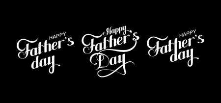 vector typographic illustration of handwritten Happy Fathers Day retro label. lettering composition
