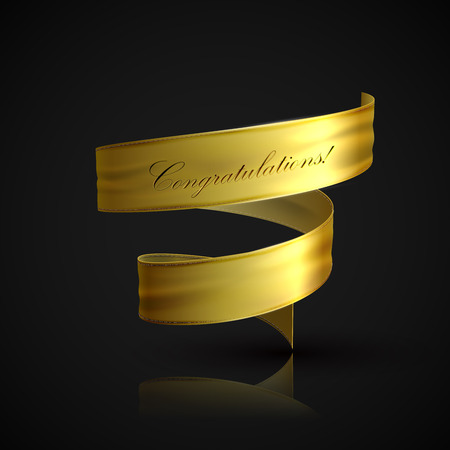 curved ribbon: vector illustration of golden textile ribbon. decorative element for design. banner