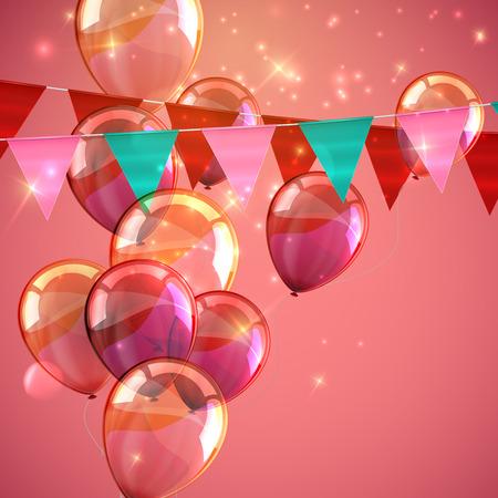 globos de cumpleaños: ilustración vectorial festiva de banderas golpe ligero, globos volando y destellos. Elementos decorativos para el diseño