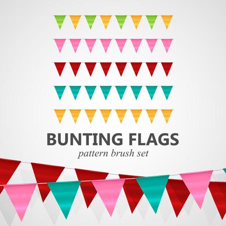 flag banner: vector festive illustration of bunting flags pattern brush set. decorative elements for design Illustration