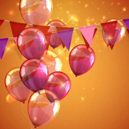 vector festive illustration of bunting flags, flying balloons and sparkles. decorative elements for design Vettoriali