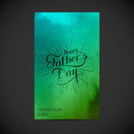 happy person: vector typographic illustration of handwritten Happy Fathers Day retro label with light rays on watercolor background. lettering composition. postcard design