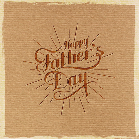 handwritten: vector typographic illustration of handwritten Happy Fathers Day retro label with light rays. lettering composition
