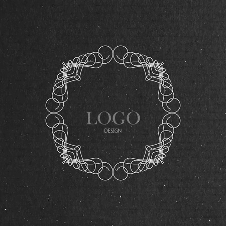 artdeco: vector illustration with ornate art-deco frame on cardboard texture. graceful line art   design element Illustration