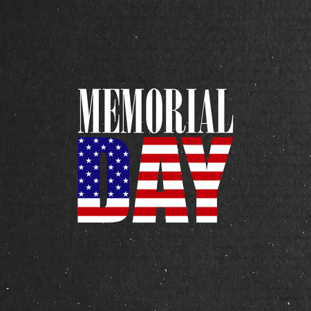 memorial day: vector illustration of Memorial Day label on the cardboard background