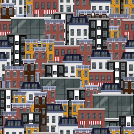 house illustration: vector seamless flat pattern with different city buildings. citycape background