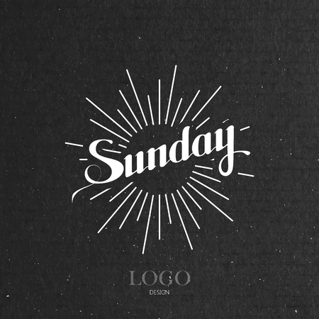 fun day: vector typographical illustration with ornate word Sunday and light rays on the black cardboard texture