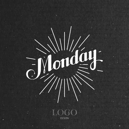 light rays: vector typographical illustration with ornate word Monday and light rays on the black cardboard texture Stock Illustratie