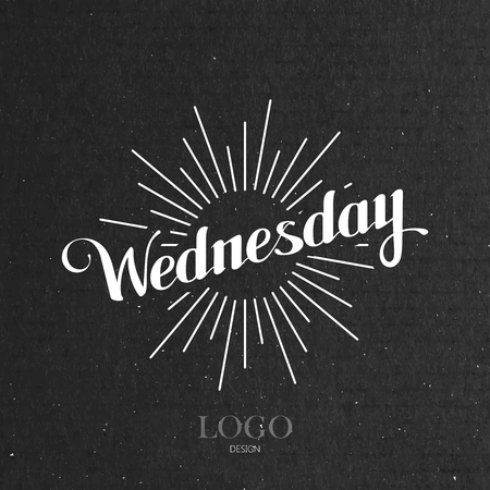 light rays: vector typographical illustration with ornate word Wednesday and light rays on the black cardboard texture Illustration