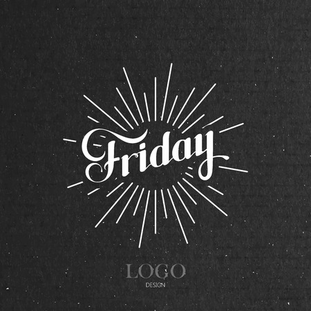 light rays: vector typographical illustration with ornate word Friday and light rays on the black cardboard texture Stock Illustratie