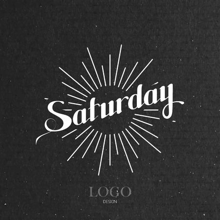 cardboard texture: vector typographical illustration with ornate word Saturday and light rays on the black cardboard texture