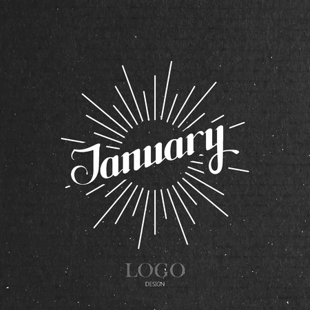 light rays: vector typographic illustration of handwritten January retro label with light rays. lettering logo composition