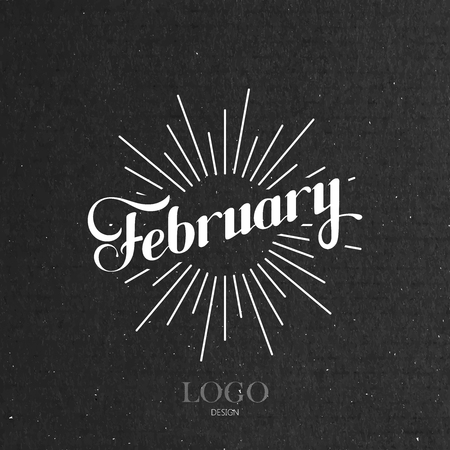 fall winter: vector typographic illustration of handwritten February retro label with light rays. lettering logo composition